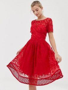 κόκκινο midi φόρεμα