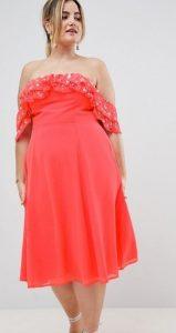 κοραλί strapless plus size φόρεμα