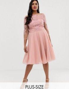 ροζ plus size φόρεμα
