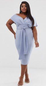 midi pencil γαλάζιο φόρεμα