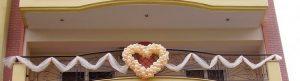 πορτοκαλι ασπρη καρδια με μπαλονια για γαμο
