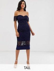 μίντι μπλε σκούρο φόρεμα