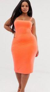 πορτοκαλί ελαστικό φόρεμα τετράγωνη λαιμόκοψη