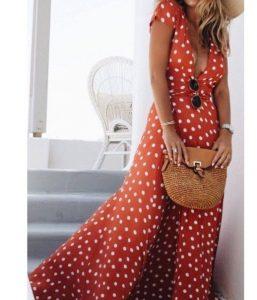 πουά μάξι φόρεμα