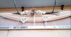 μπεζ ροζ τουλια σε μπαλκονι