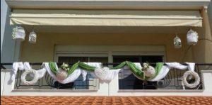 πρασινο και λευκα τουλια διακοσμηση μπαλκονιου