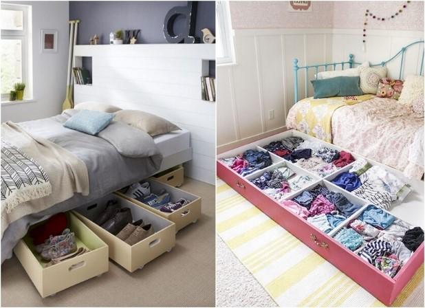 κρεβάτι κάτω αποθηκευτικό χώρο συρτάρια ροδάκια διακοσμήσεις μικρό υπνοδωμάτιο