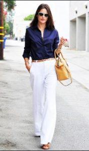 άσπρο λινό παντελόνι πουκάμισο