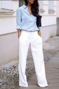 άσπρο λινό παντελόνι πουκάμισο γαλάζιο