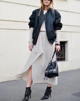 bomber jacket μπουφάν μαύρο φόρεμα φαρδύ