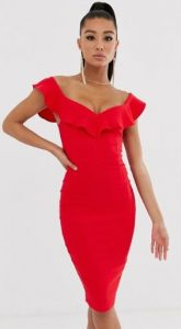 κόκκινο εφαρμοστό φόρεμα με βολάν στο στήθος