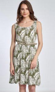 εμπριμέ γυναικείο φόρεμα με ζώνη στη μέση