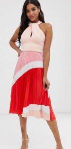 εντυπωσιακό τρίχρωμο Midi φόρεμα