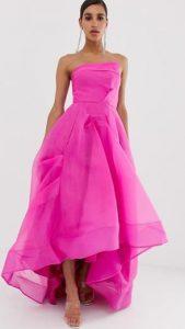 εντυπωσιακό ροζ στράπλες γυναικείο φόρεμα