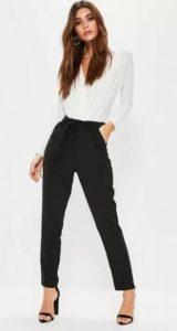 μαύρο παντελόνι με άσπρο πουκάμισο