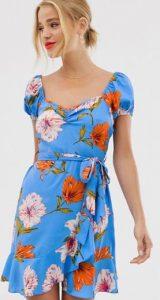 φλοράλ κοντομάνικο γυναικείο φόρεμα με ζώνη στη μέση