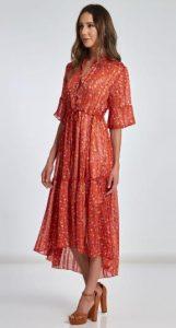κόκκινο φλοράλ μακρύ φόρεμα