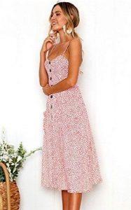 μίντι φόρεμα πουά άσπρο ροζ τιράντα ντυθείς καλοκαίρι γραφείο