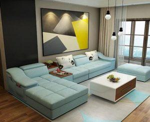 γαλάζιος δερμάτινος καναπές