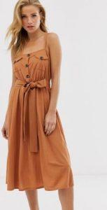 γυναικείο midi φόρεμα με κουμπιά και ζώνη στη μέση
