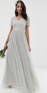 γκρια μακρύ κοντομάνικο φόρεμα