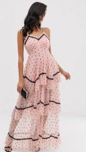πουά αμάνικο γυναικείο φόρεμα μακρύ