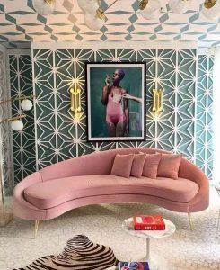 ροζ καναπές ανάκλινδρο