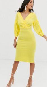 κίτρινο γυναικείο εφαρμοστό φόρεμα
