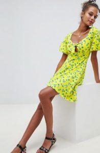 κίτρινο γυναικείο μίνι φόρεμα