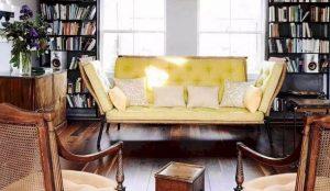 κίτρινος διθέσιος retro καναπές