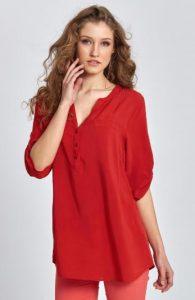 καλοκαιρινή κόκκινη μπλούζα με μανίκι έως τον αγκώνα