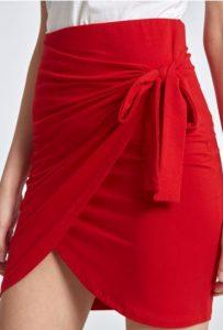 κοντή κόκκινη φούστα celestino με φιόγκο στο πλάι