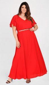 κόκκινο φόρεμα μεγάλο μέγεθος parabita