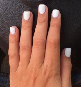 κοντά λευκά νύχια μονόχρωμα