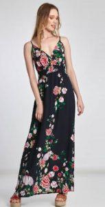 μακρύ μάύρο φόρεμα με λουλούδια