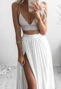 πλισέ μακριά λευκή φούστα