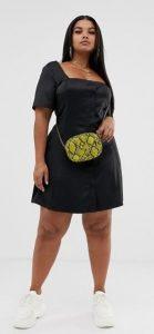 μαύρο μίνι φόρεμα κουμπιά