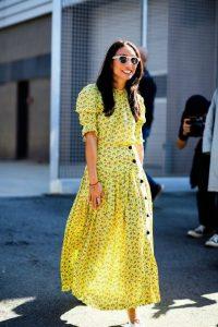 φόρεμα μακρύ maxi κίτρινο αέρινο ντυθείς καλοκαίρι γραφείο