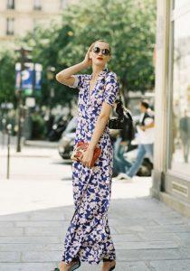φόρεμα μακρύ maxi εμπριμέ άσπρο μπλε