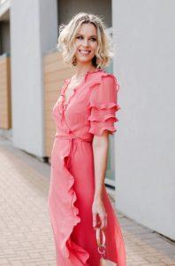 φόρεμα μακρύ maxi ροζ βολάν ντυθείς καλοκαίρι γραφείο