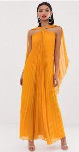 εντυπωσιακό κίτρινο μακρύ φόρεμα