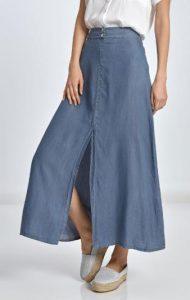 μακριά jean φούστα με σκίσιμο