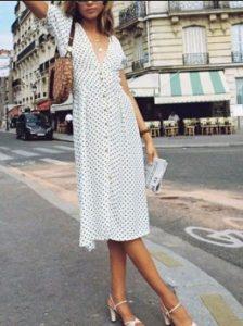 μίντι φόρεμα άσπρο πουά πέδιλα