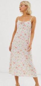 floral midi φόρεμα με ψιλό ραντάκι