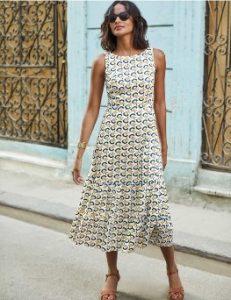 μίντι φόρεμα άσπρο κίτρινο εμπριμέ ντυθείς καλοκαίρι γραφείο