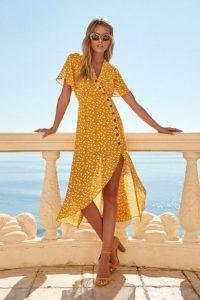 μίντι φόρεμα πορτοκαλί κίτρινο κουμπιά ντυθείς καλοκαίρι γραφείο