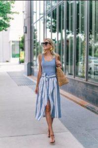 μίντι φούστα ριγέ μπλε ντυθείς καλοκαίρι γραφείο