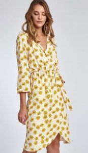 Midi κρουαζέ φόρεμα με λουλούδια