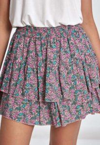 μίνι φλοράλ φούστα με βολάν