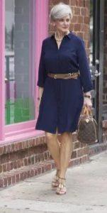σκούρο μπλε φόρεμα μέχρι το γόνατο